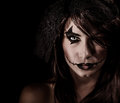 Terrifying witch portrait isolated on black background attractive woman with scary makeup halloween party horror concept Royalty Free Stock Image