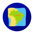 Territory of Brazil icon in flat style isolated on white background.