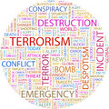 Terrorism background concept wordcloud illustration print concept word cloud graphic collage Stock Image