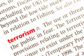 Terrorism dictionary definition of close up view Stock Image