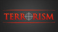 Terrorism hairline cross illustration white in red lettering Royalty Free Stock Photography