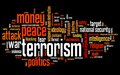 Terrorism issues and concepts word cloud illustration word collage concept Royalty Free Stock Photos