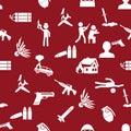 Terrorism theme set of simple icon red seamless pattern eps10