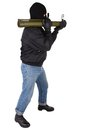 Terrorist with bazooka grenade launcher isolated on white background Royalty Free Stock Photography