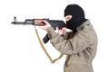 Terrorist shoting isolated on a white background Stock Photos