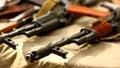 Terrorist Weapons military backgroundAK-47 Kalashnikov Russian automatic gun rifle