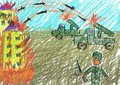 Terrorists fired home children s drawing about the war in ukraine Royalty Free Stock Photography