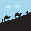 Terrorists silhouettes of several armed on his secret path illustration Royalty Free Stock Images