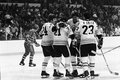 Terry o reilly don marcotte and rick smith bruins score vintage image of celebrate a goal image from b w negative Stock Photos