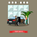 Test drive concept vector illustration in flat style Royalty Free Stock Photo