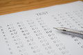 Test score sheet with answers Royalty Free Stock Photo