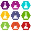 Test tube with oil icon set color hexahedron Royalty Free Stock Photo