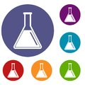 Test tube with oil icons set Royalty Free Stock Photo