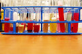 Test tubes with colorful chemicals a photograph showing a testtube rack in a science chemistry lab many filled colourful chemical Royalty Free Stock Images