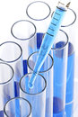 Test tubes determination with a pipette falling drop Stock Photography