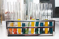 Test tubes are in laboratory Stock Image