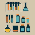 Test tubes over beige background vector illustration Stock Image
