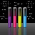 Test tubes set. Formulas. Science and education vector.