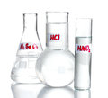 Test-tubes with various acids Stock Image