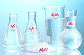 Test-tubes with various acids and chemicals Royalty Free Stock Photography
