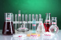Test-tubes with various acids and chemicals Royalty Free Stock Photo