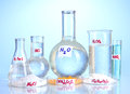 Test-tubes with various acids and chemicals Royalty Free Stock Image