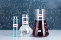 Test-tubes with various acids and other chemicals Royalty Free Stock Photography