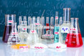 Test-tubes with various acids and other chemicals Stock Image