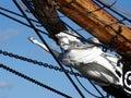 Testaferro blanco en tallship Fotografía de archivo