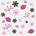 Teste padrão floral - cor-de-rosa e marrom Imagens de Stock
