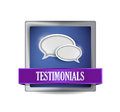 Testimonials glossy blue reflected square button illustration design Royalty Free Stock Image