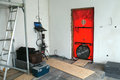 Testing house air tightness blower door test passive standard house Stock Photo