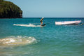 Testing a motorized surfboard in the caribbean Royalty Free Stock Photo