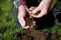 Testing the soil. Royalty Free Stock Photo