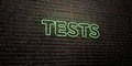 TESTS -Realistic Neon Sign on Brick Wall background - 3D rendered royalty free stock image