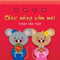 2020 Tet year of the rat - cartoon mouse couple holding watermelon & banh chung