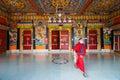 Teto das portas de entrance rumtek monastery da monge Foto de Stock