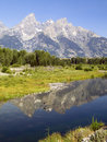 Tetons and Duck Reflected at Schwabachers Landing Stock Image