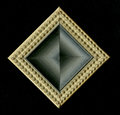 Tetrahedral square decorative rosette of wooden framing strips Royalty Free Stock Photo