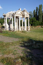 Tetrapylon in a spring meadow ruins of aphrodisias turkey Royalty Free Stock Photography
