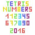 Tetris arabic numerals from colored pieces Royalty Free Stock Photo