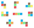Tetris element set color design Royalty Free Stock Photo