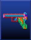Tetris gun on the blue background Stock Image