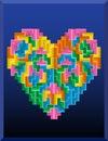 Tetris heart on the blue background Stock Photos