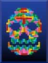 Tetris skull on the blue background Royalty Free Stock Photo