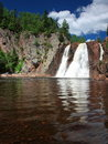 Tettegouche waterfall with water Royalty Free Stock Photo