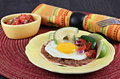Tex Mex Huevos Rancheros, selective focus on egg Royalty Free Stock Photo