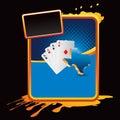 Texas hold em playing cards on orange splatter ban Royalty Free Stock Photo