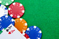 Texas holdem pocket aces on a casino table Royalty Free Stock Photo