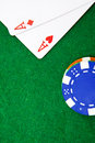 Texas holdem pocket aces on casino table Stock Image